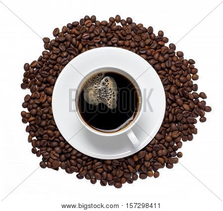 Cup of coffee and coffee beans isolated on a white background