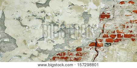Cracked Red White Brick Wall Urban Texture. Old Red Brick Wall With Shabby Damaged White Plaster. Painted Whitewashed Brickwall Grungy Background. Stonework Grunge Empty Horizontal Banner