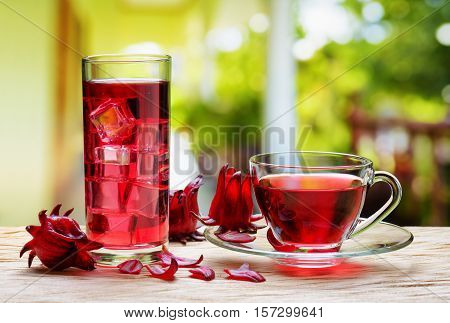 Cup Of Hot Hibiscus Tea (rosella) And The Same Cold Drink