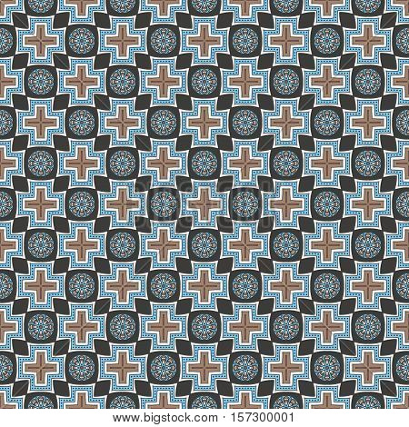 Boho circus abstract pattern geometrical stars and circles for spring summer fashion with abstract ornament in denim inspired dusty blue colors
