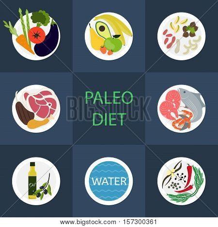 Paleo diet component. Set of colorful icons