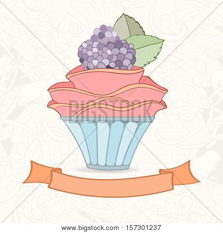 Hand drawn background of doodle style cupcake card. Vector illustration can be used for invitation, banner template, card, flyer, sale, website, menu of bakery or restaurant