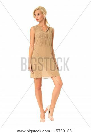 Full Length Of Flirtatious Woman In Short Dress Isolated On White