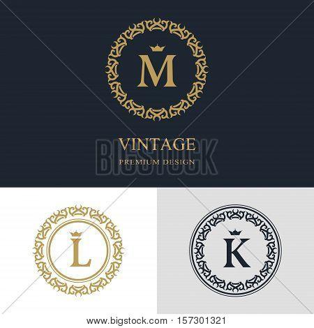 Monogram design elements graceful template. Calligraphic elegant line art logo design. Letter emblem sign M L K for Royalty business card Boutique Hotel Heraldic Jewelry. Vector illustration