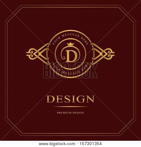 Monogram design elements graceful template. Calligraphic elegant line art logo design. Gold Letter emblem sign D for Royalty business card Boutique Hotel Heraldic Jewelry. Vector illustration