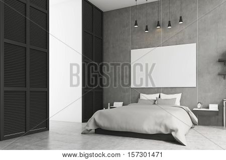 Side view of a bedroom interior with king size bed bedside table and a large window in a black wall. Horizontal poster is hanging above the bed. 3d rendering. Mock up.