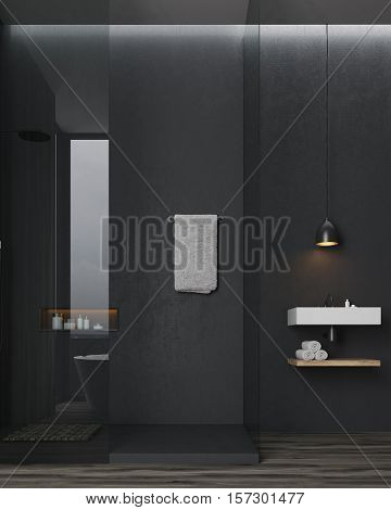 Bathroom and toilet interior. Black walls. Rectangular sink with a wooden shelf with towels under it. Large mirror. Concept of luxury interior. 3d rendering.