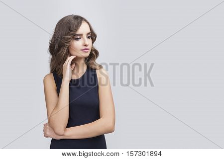Thinking Woman With Wavy Hair