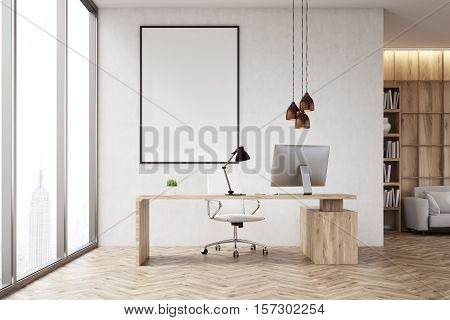 Front View Of Ceo Table In His Office With Bookcase