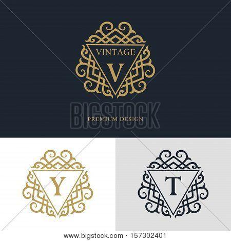 Monogram design elements graceful template. Calligraphic elegant line art logo design. Letter emblem sign V Y T for Royalty business card Boutique Hotel Heraldic Jewelry. Vector illustration