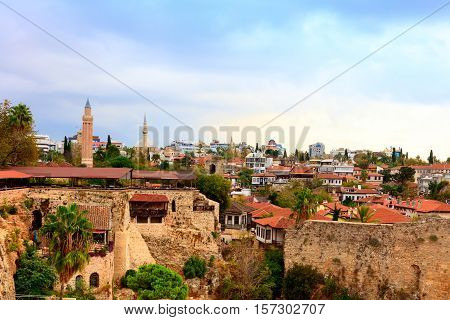 ANTALYA, TURKEY - NOVEMBER 8:  Roof tops, Roman walls and minarets in the historic Old Town of Antalya, known as Kaleici on November 8, 2016.