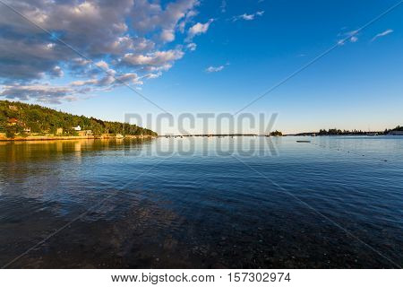 Seal Harbor at high tide with calm water. Mt. Desert Island New England. Maine