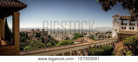 Granada Spain - 8th September 2016: The Generalife at the Alhambra Palace.