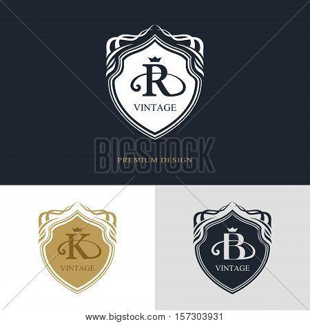 Monogram design elements graceful template. Calligraphic elegant line art logo design. Letter emblem sign R K B for Royalty business card Boutique Hotel Heraldic Jewelry. Vector illustration