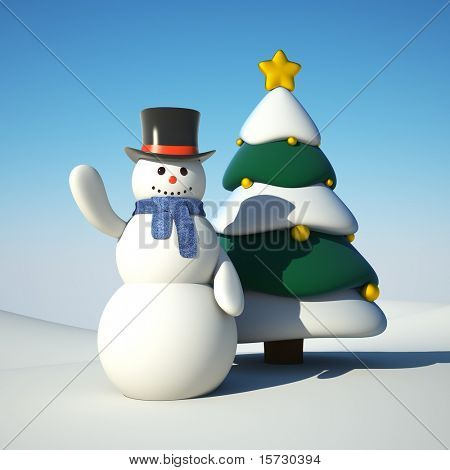 Snowman and chistmas tree