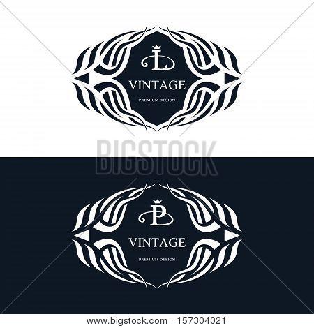 Monogram design elements graceful template. Calligraphic elegant line art logo design. Letter emblem sign L P for Royalty business card Boutique Hotel Heraldic Jewelry. Vector illustration