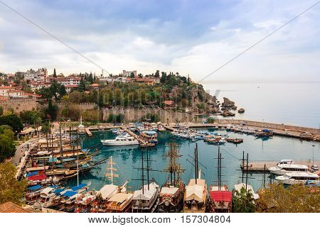ANTALYA, TURKEY - NOVEMBER 8: Small marina in the historic Old Town of Antalya, known as Kaleici on November 8, 2016.