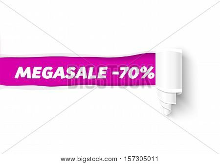 Vector torn paper banner with paper roll. Hole in white paper with space for text. Torn paper template for sale promo and advertising.