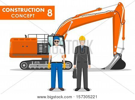 Worker concept. Detailed illustration of excavator, worker, miner, engineer, businessman in flat style on white background. Heavy construction and mining machine. Vector illustration.