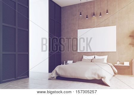 Bedroom With Poster And A Window In A Black Wall, Toned
