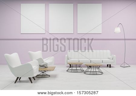 Waiting Room With Pink Walls And Tree Posters
