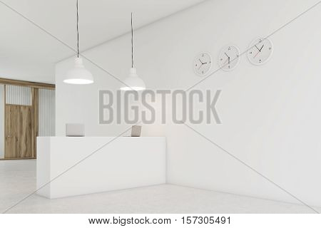 Office counter is standing in a lobby with three clocks on white wall. Wooden door is seen in the background. 3d rendering. Mock up