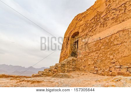 Entrance to the top of demolished building of the tower of silence in Yazd, Iran.