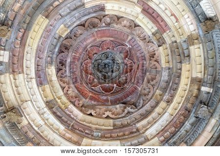 DELHI, INDIA - FEBRUARY 13 : Detail of the ceiling in one of the buildings Qutub (Qutb) Minar, Delhi, India on February, 13, 2016.