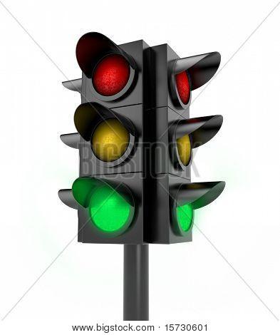 Traffic light. Green light on