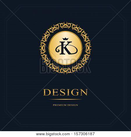 Monogram design elements graceful template. Calligraphic elegant line art logo design. Letter emblem sign K for Royalty business card Boutique Hotel Heraldic Jewelry. Vector illustration