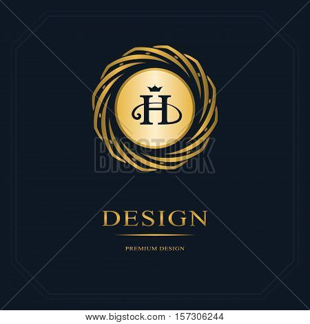 Gold Emblem of the weaving circle. Monogram design elements graceful template. Simple logo design Letter H for Royalty business card Boutique Hotel Heraldic Web design. Vector illustration