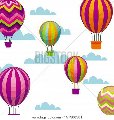 air balloons flying icons over sky background. colorful design. vector illustration