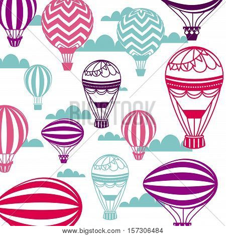 air balloon and sky background. colorful design. vector illustration