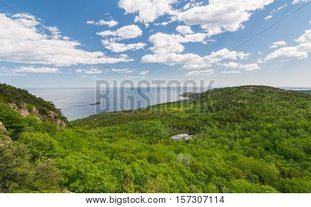 View from the Beehive trail in Acadia National Park looking towards the Atlantic Ocean and coast