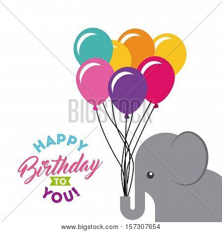 happy birthday card with cute elephant animal with colorful balloons over white background. vector illustration