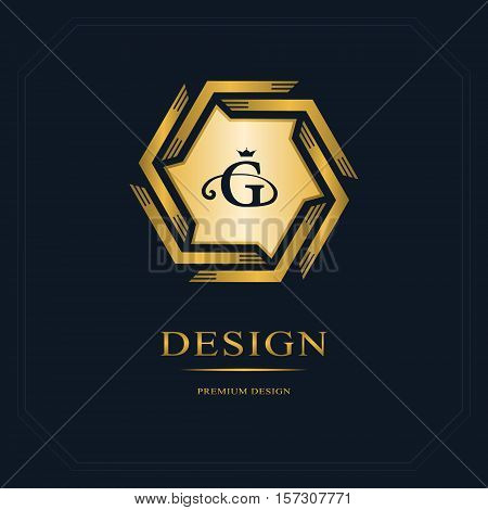Geometric Monogram logo. Abstract template in trendy mono line style. Gold Letter emblem G. Monochrome emblem hipster. Minimal Design elements for logo badge banner insignias frame label. Vector
