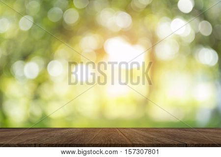Wood Table On Shiny Sunlight Bokeh Background.