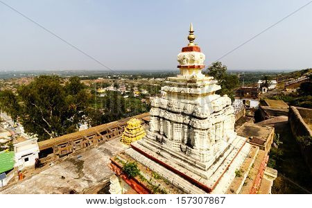Aerial view from Shivagange temple situated in the top of the mountain taken on November 11, 2016 at Dabaspet, Tumkur District, Karnataka