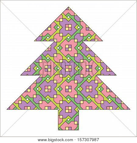 Abstract Christmas tree a symbol of the new year holiday. Vector illustration.