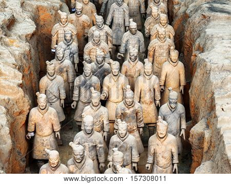 Corridor With Terracotta Infantrymen Of The Terracotta Army
