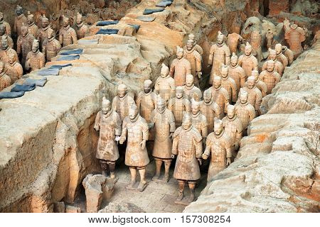 View Of Terracotta Soldiers Of The Terracotta Army, Xi'an, China