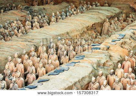 The Terracotta Warriors And Remains Of Sculptures. Xi'an, China