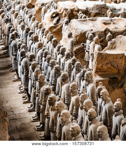 Side View Of The Terracotta Warriors. Xi'an, China