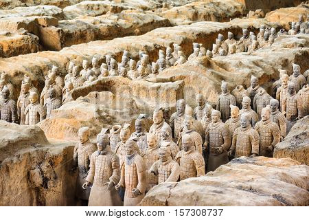 View Of The Famous Terracotta Army At Excavation Pit, China