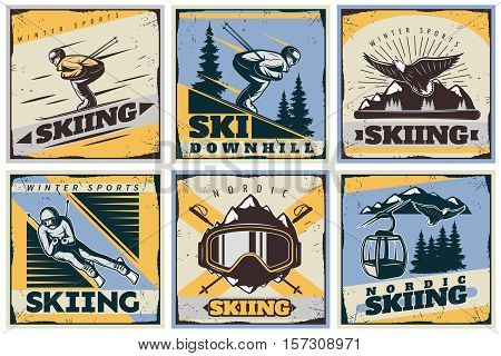 Six colorful nordic skiing square compositions in retro style with moving skier and skiing gear images vector illustration