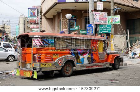 Jeepney On Street In Manila, Philippines