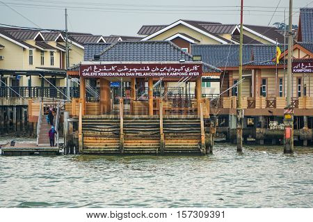 Bandar Seri Begawan,Brunei-Nov 10,2016:Water village known as Kampong Air at Brunei Darussalam.It's a beautiful sight to see hundreds of houses seemingly floating on water & historical places