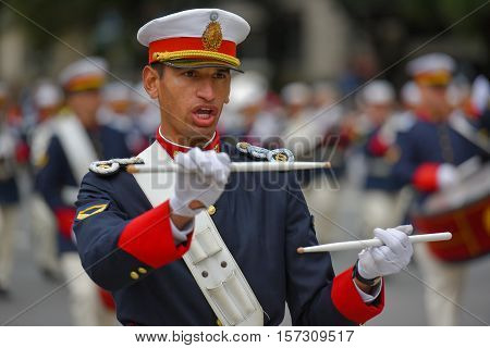 Buenos Aires, Argentina - Jul 11, 2016: Member of the Argentine military band performs at the parade during celebrations of the bicentennial anniversary of Argentinean Independence day.