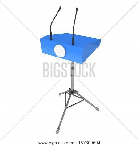 Speaker Podium on Tripod. Blue Tribune Rostrum Stand with Microphones. 3d render isolated on white background. Debate press conference concept poster
