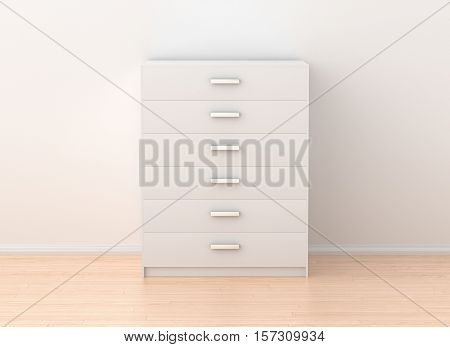 Drawer Chest Isolated In Light Interior